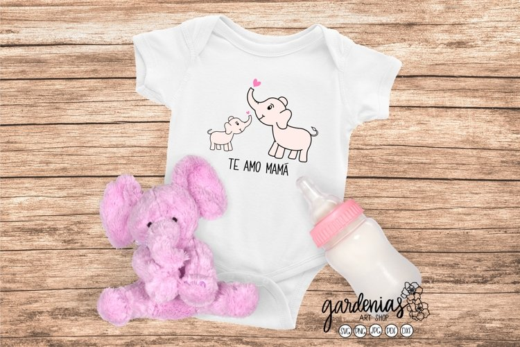 Te Amo Mamá SVG | Mamá y Bebé Elefante | Cut File