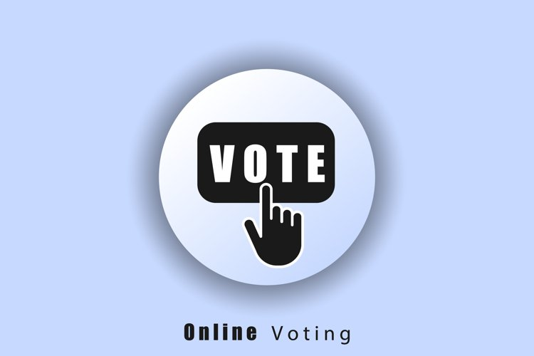 Online voting icon. Voting logo. Hand click on vote button l