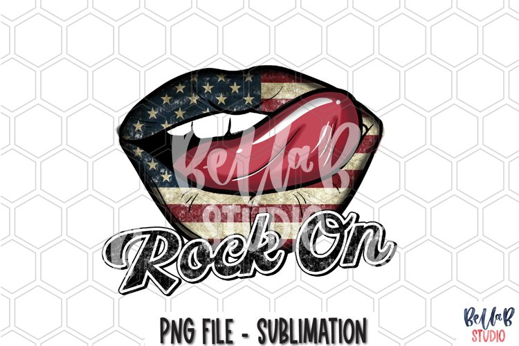 Rock On Sublimation Design, America Lips