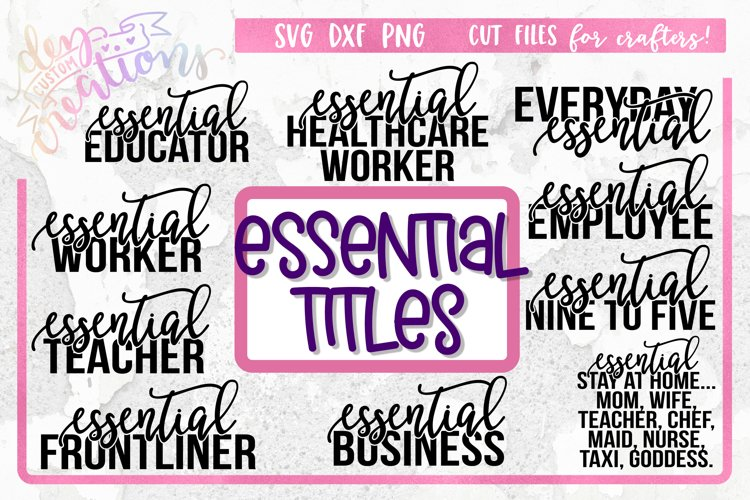 Essential Titles SVG Bundle - Essential Worker - Sublimation