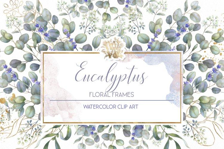 Eucalyptus & Lavender watercolor frame clip art, wedding