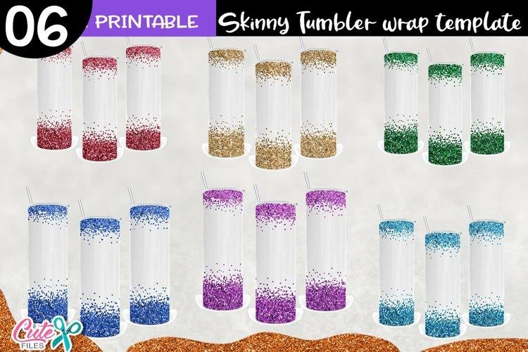 Glitter border tumbler sublimation design example image 1