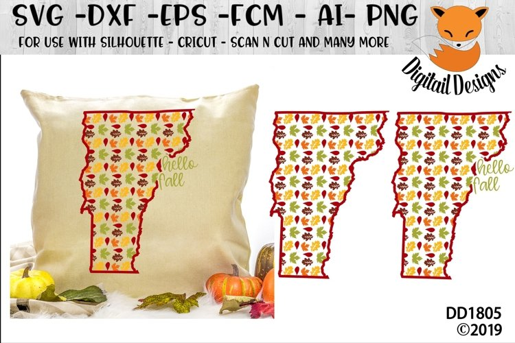 Vermont Autumn Fall Leaves Pattern SVG example image 1