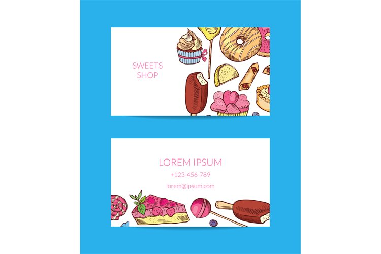 Vector hand drawn sweets or pastry shop business card templa example image 1