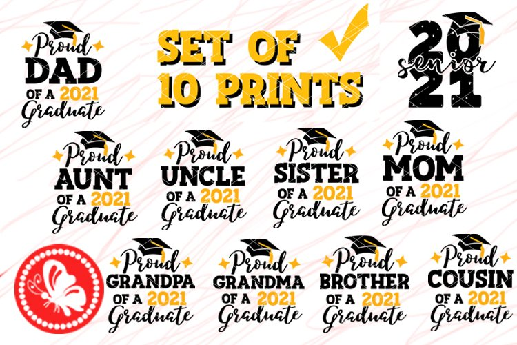 Bundle Graduation 2021 Proud Family of a Graduate svg Grad
