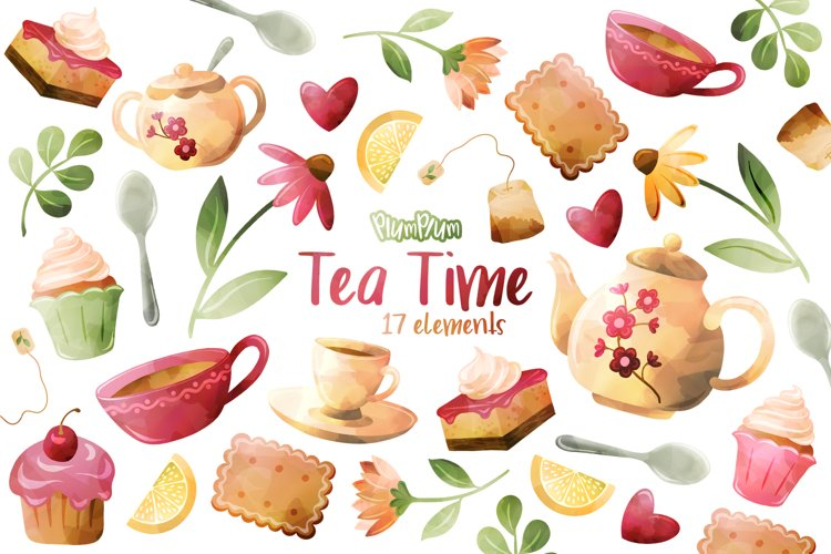 Tea Time Watercolor Cliparts