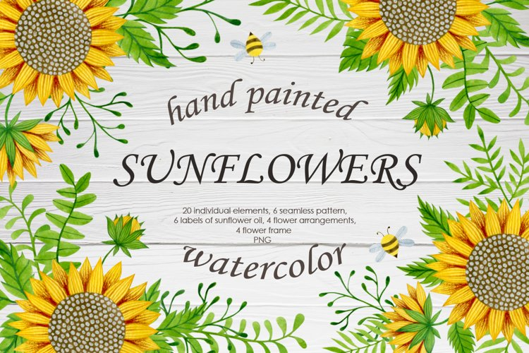 Watercolor sunflowers example image 1