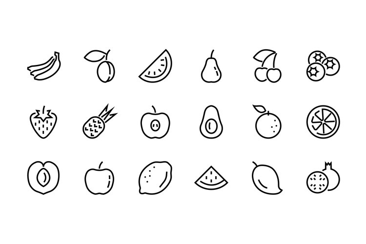 Fruit Icon Set, Vector lines EPS 10