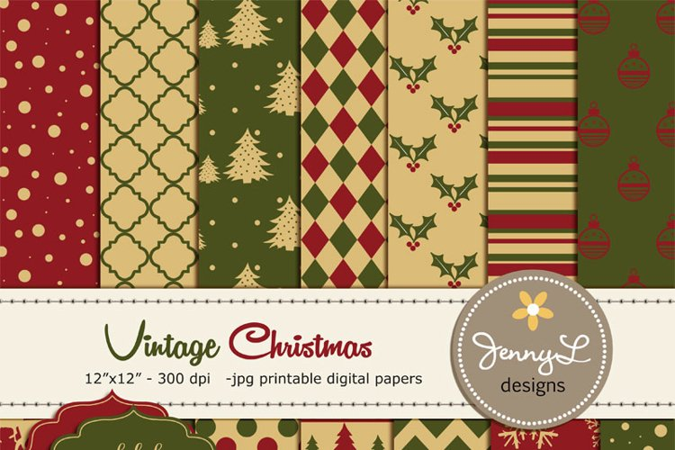 Vintage Christmas Digital Papers example image 1