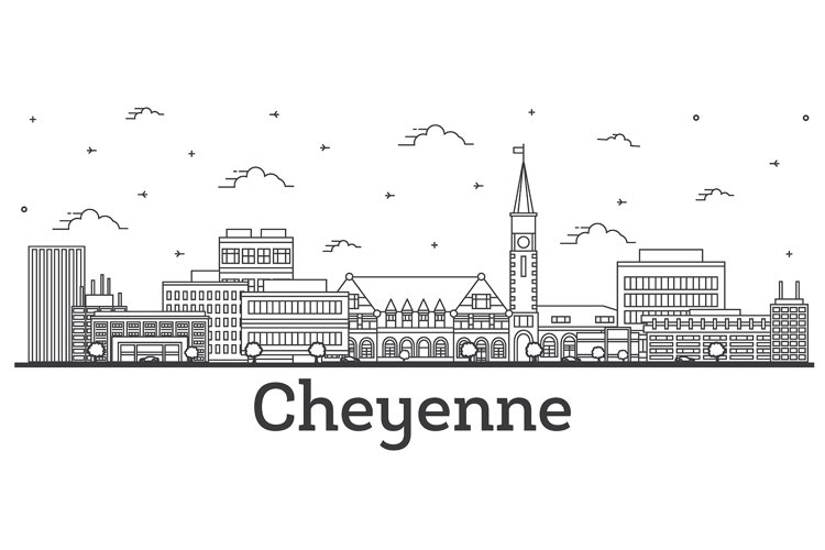 Outline Cheyenne Wyoming City Skyline with Modern Buildings example image 1
