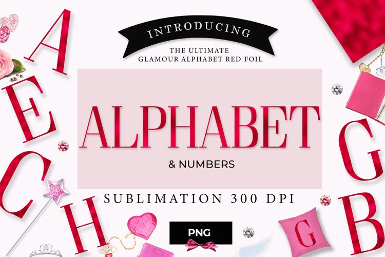 Alphabet red, numbers, red letters, example image 1