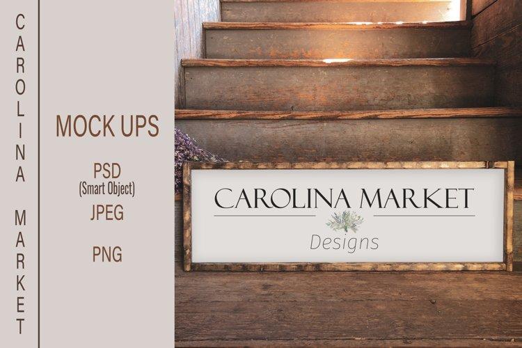 10x30 Wood Sign Mockup | Rustic Wood Frame Smart Object PSD
