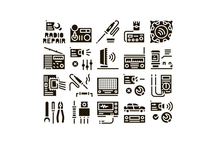 Radio Repair Service Glyph Set Vector example image 1