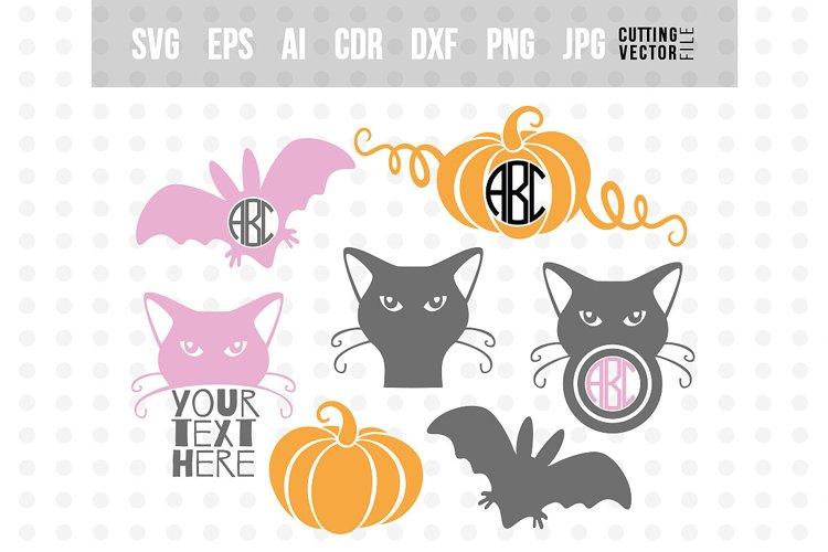 Halloween monogram SVG Bundle - svg, eps, ai, dxf, png, jpg example image 1
