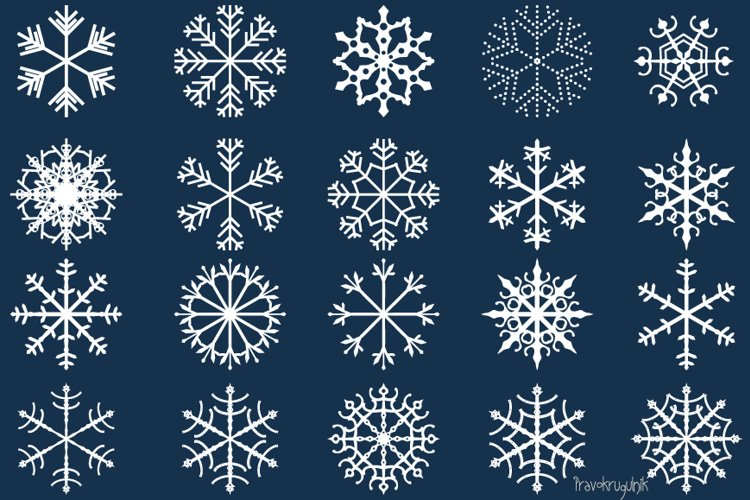 Winter snowflakes clipart set - black and white colors