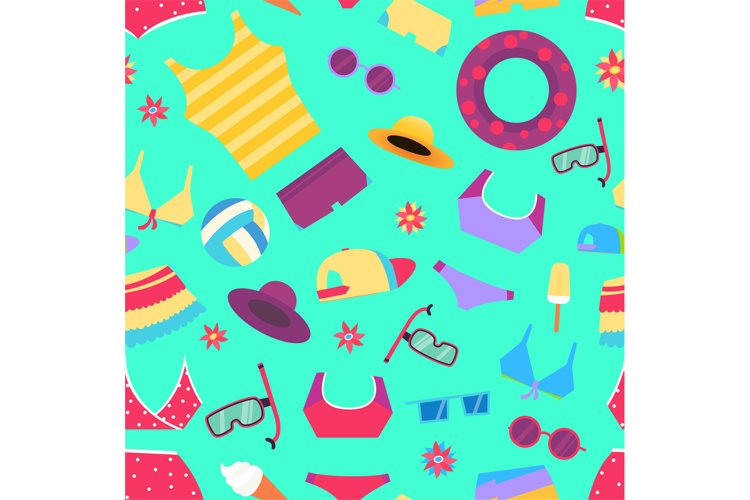 Seamless summer pattern with beach objects and accessories example image 1