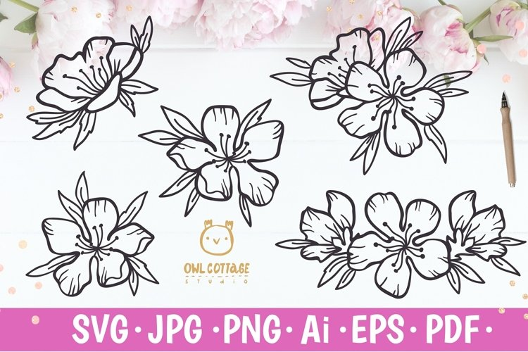 Cherry Blossom Decor svg, Wedding Flowers mini set