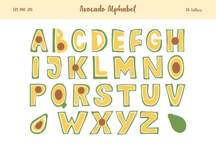 Avocado Alphabet Set, Avocado Letter Clipart, SVG, PNG, example image 1