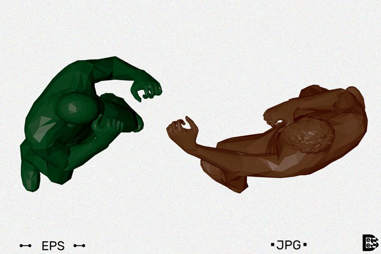 Men fighting. 3d vector illustration. example image 1