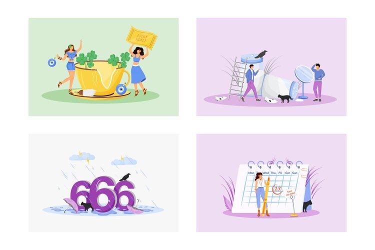 Superstitions flat concept vector illustrations set