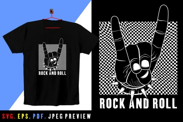 rock and roll T-SHIRT SVG-PDF-EPS-JPEG A60 example image 1