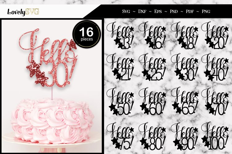 Hello Birthday Cake Toppers, SVG Cut Files