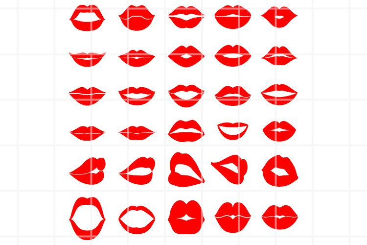 Lips SVG, Lips Silhouette SVG, Lips CUT Files, Kiss SVG. example image 1