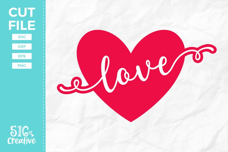 Love Heart SVG DXF EPS PNG example image 1