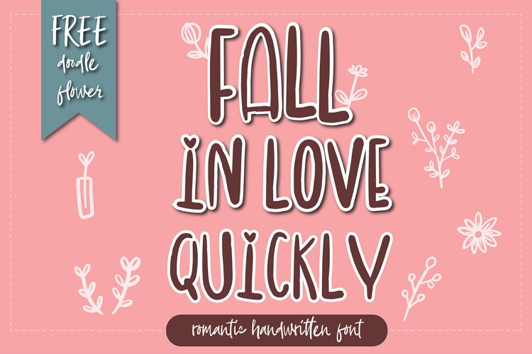 Fall in love quickly romantic handwritten font example image 1