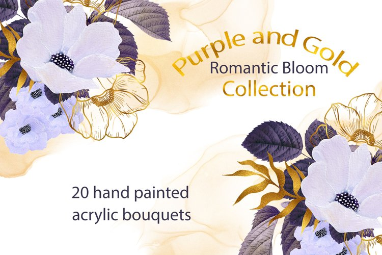 Purple and Gold Romantic Bloom Bouquets example image 1