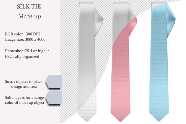 Silk tie mockup. Front view. Product mockup. example image 1