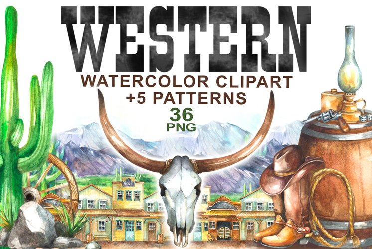 Watercolor Western Clipart example image 1