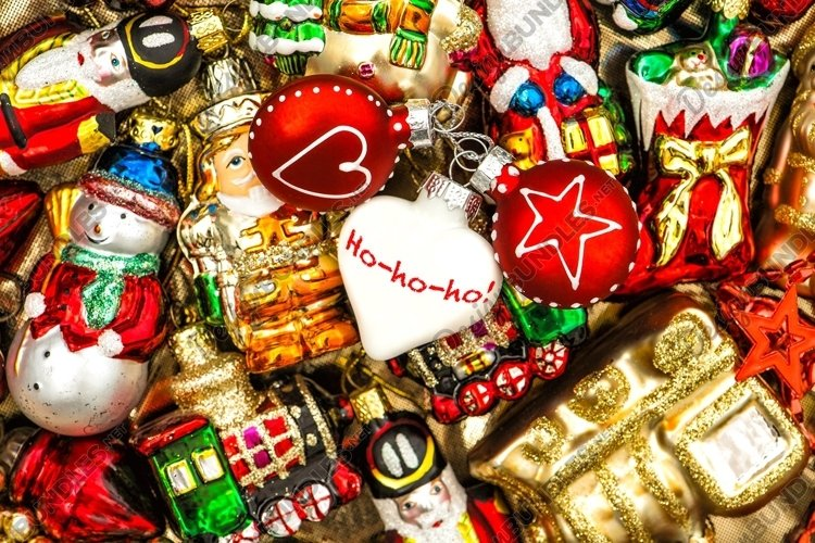 Christmas background baubles ornaments Colorful decoration example image 1