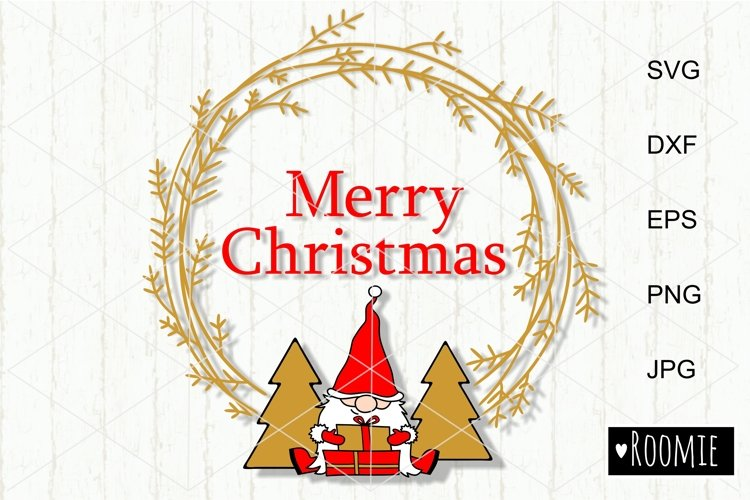 Merry Christmas wreath with gnome and trees svg New year Elf