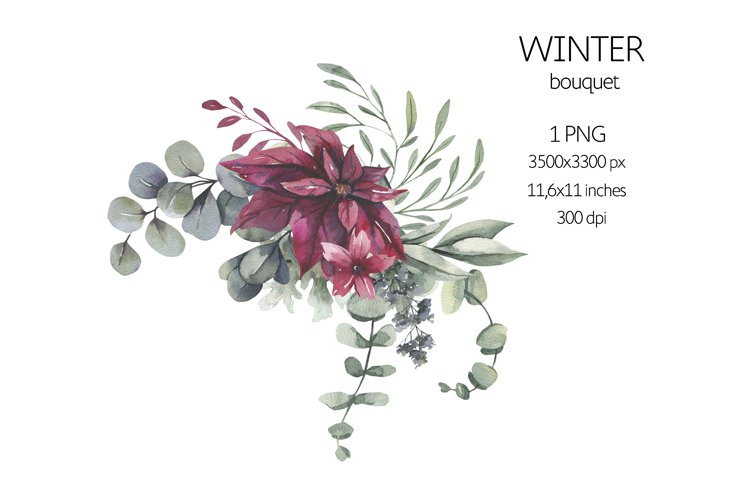 Watercolor Winter Floral Bouquet example image 1