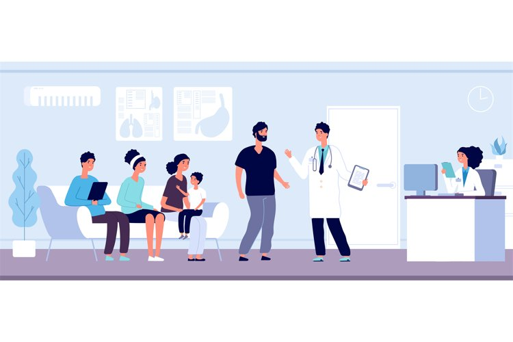 Patients in doctors waiting room. People wait hall in clinic example image 1