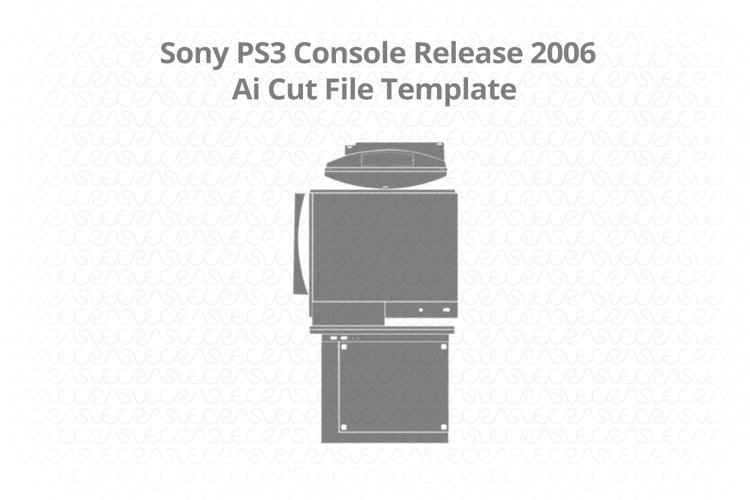 Sony PS3 Gaming Console Vinyl Skin Vector Cut File Template