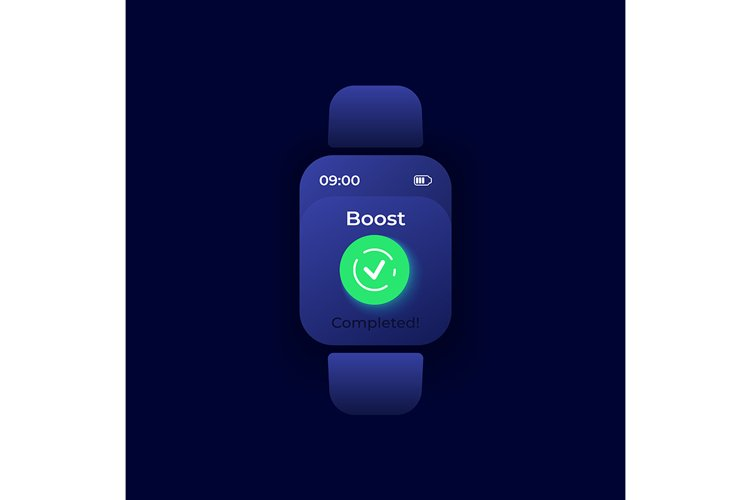 Boost completed smartwatch interface vector template example image 1