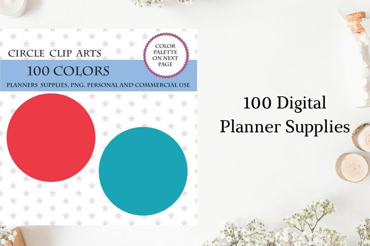 100 Circles clipart, Round circles for planner, Rainbow