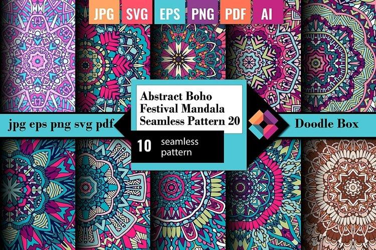 Abstract Boho Festival Mandala Seamless Pattern vol.20