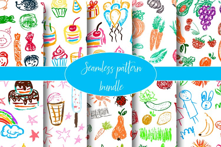 Cute stylish seamless pattern. Draw pictures, doodle
