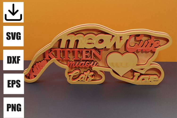 Kitten layered for decoration svg example image 1