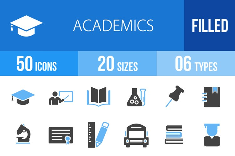 50 Academics Filled Blue & Black Icons example image 1