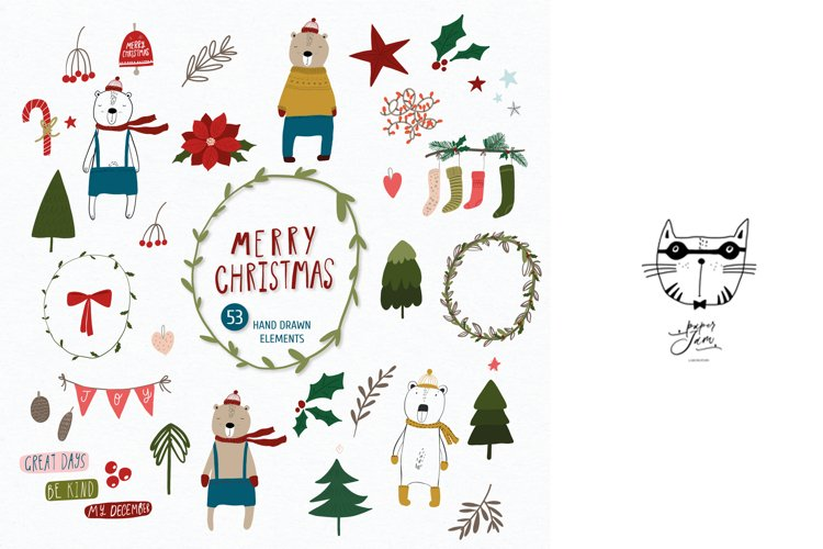 Christmas clipart, Bear png clipart, Christmas vector eps example image 1