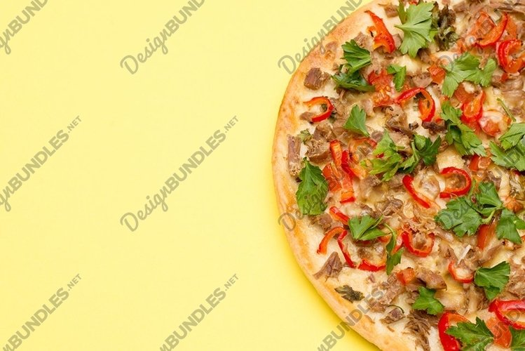 Hot delicious pizza on summer yellow background example image 1