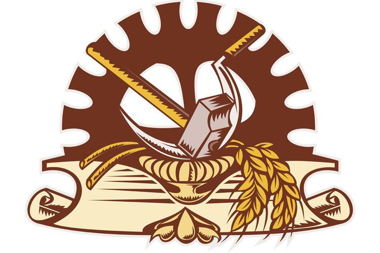 hammer sickle wheat mechanical gear cog example image 1