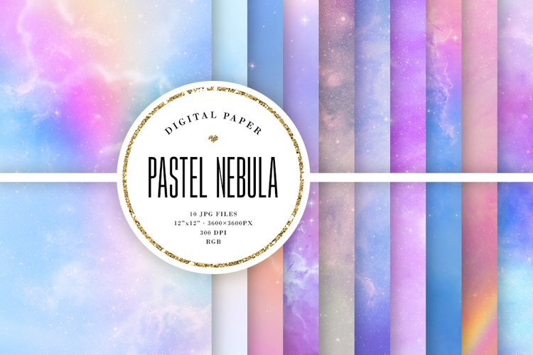 Space Digital Paper - Pastel Nebula Backgrounds - Magic Sky example image 1