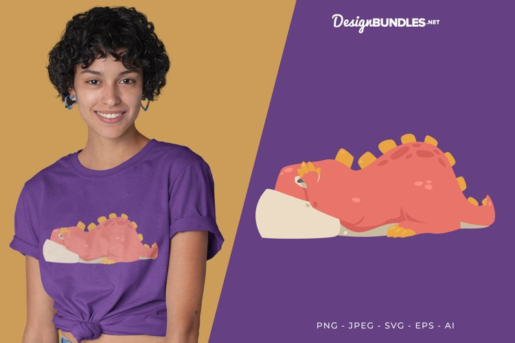 A Shy Red Dino Vector Illustration For T-Shirt Design