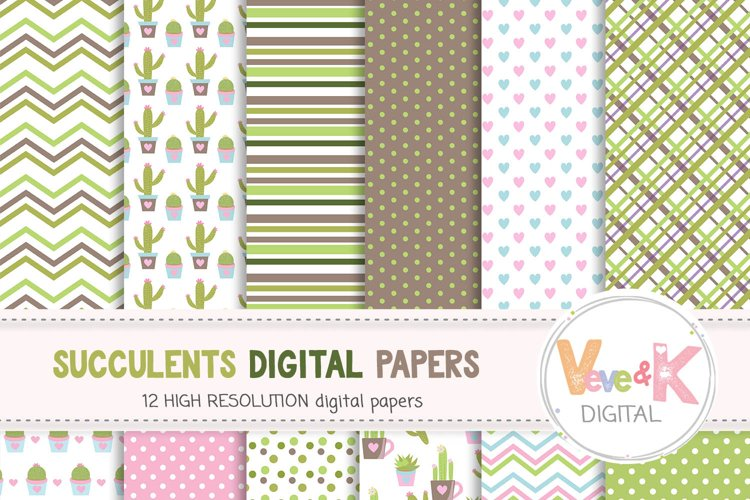 Cacti Digital Paper Pack, Cute Cacti Digital Papers, Cacti Background Papers, Cacti Scrapbooking Papers, Planner Papers, Cactus Background