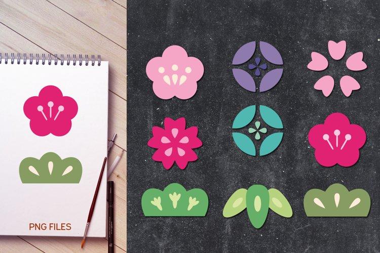 Japanese Flowers Illustrations - Sakura Cherry Blossoms
